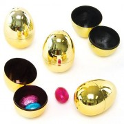 Plastic Golden Eggs - 10 2-part hinged plastic eggs, ideal for gifts and egg hunts. Size 4cm x 6cm
