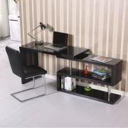 HOMCOM Mesa de Oficina para Ordenador PC - Color Negro - MDF y Acero Inoxidable - 187.5x50x76.1 cm