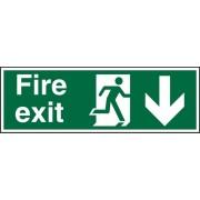 Unbranded Fire Exit Sign Down Arrow Vinyl 20 x 60 cm
