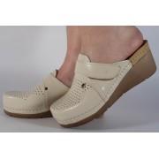 Saboti/Papuci bej din piele naturala dama/dame/femei (cod 1001)