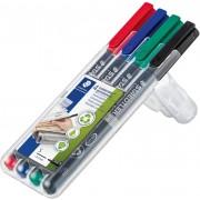 STAEDTLER Lumocolor 313 Permanente OHP Marker Extra Fijn Ronde Punt Kleurenassortiment 4 Stuks