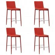 vidaXL Бар столове, 4 бр, червени, изкуствена кожа