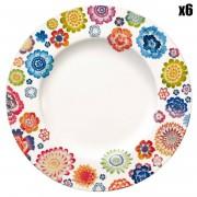 Villeroy & Boch 6 Assiettes plates Anmut Bloom multicolores - D.27 cm