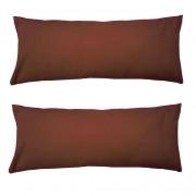 Set 2 Perne cervicale dreptunghiulare, 50 x 20cm, pline cu Puf Mania Relax, culoare maro
