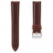Dane Dapper Bracelet de montre en cuir marron à boucle argentée