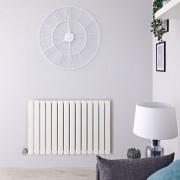 Hudson Reed Radiateur design électrique horizontal - Blanc - 63,5 cm x 98 cm x 4,6 cm - Delta