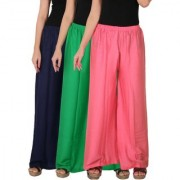 Culture the Dignity Women's Rayon Solid Palazzo Pants Palazzo Trousers Combo of 3 - Navy Blue - Green - Baby Pink - C_RPZ_B3GP2 - Pack of 3 - Free Size