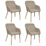 vidaXL Трапезни столове, 4 бр, бежов плат и дъбова дървесина масив