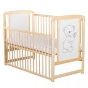 Patut din lemn BabyNeeds Timmi 120x60 cm cu laterala culisanta Natur + Saltea 10 cm