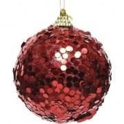 Decoris 1x Kerstballen kerst rode glitters 8 cm met confetti kunststof kerstboom versiering/decoratie