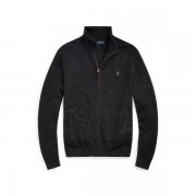 Polo Ralph Lauren Wool Full-Zip Jumper - Dark Charcoal Heather - Size: Extra Small