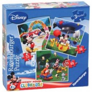 PUZZLE Copii CLUBUL MICKEY MOUSE, 3 BUC IN CUTIE, 25/36/49 PIESE