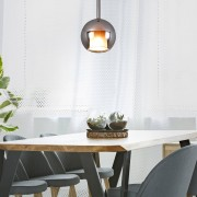 HOMCOM Pendant Lamp, Round Shade, Metal Finish-Silver Glass