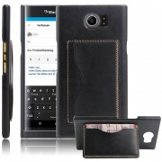 PU de la carpeta del cuero Cajas protectoras de la cubierta del tirón con el portatarjetas del soporte para Blackberry Priv-Nergo