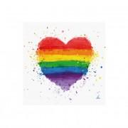 Servilletas de Orgullo Gay corazón de 33 x 33 cm - 20 unidades