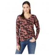 Kenneth Cole New York Printed Mixed Media Top Stripe Camo Rose Brown