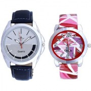 Smaile Silver Black Round Dial And Multi Pink Art Couple Analogue Watch By Ganesha Exim