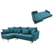 BOBOCHIC Canapé d'angle gauche convertible MIA Tissu bleu canard