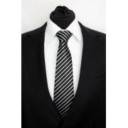 Pánská černá klasická kravata s bílými pruhy - 8 cm