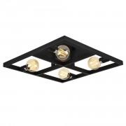 Лампа за таван - плафон Larisa 59,5 x 59,5 x 12 см. - дизайнерска лампа с форма на продълговата рамка - черна, метална