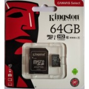 Kingston CANVAS Select 64 GB MicroSDXC Class 10 80 MB/s Memory Card(With Adapter)