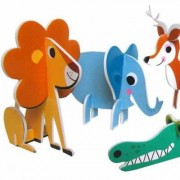 Omm Design - Animal Parade Puzzle - Set - Yellow/Blue/Teal