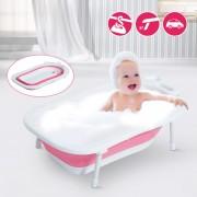HomCom Banheira para Bebé e Criança para Banho Infantil - Portátil Dobrável e Segura - Material: PP + TPE - Cor Branco e Vermelho – 89 x 53,5 x 38 cm
