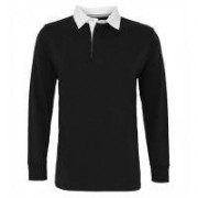 Mens Classic Fit Long Sleeve Vintage Rugby Black