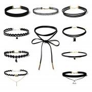 Collar Conjunto Gargantilla Tramo Terciopelo Clásico Gargantilla Gótica Del Cordón Del Tatuaje 10 Piezas-Negro