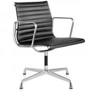 Vitra EA 108 stoel leder nero onderstel verchroomd