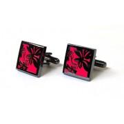 Tyler & Tyler Vine Black Metal Cufflinks Bright Pink