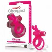 Screaming Charged Ohare - akkus, nyuszis péniszgyűrű (pink)