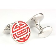 Mousie Bean Enamelled Cufflinks Longevity 139 Red