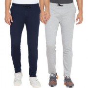 Cliths Navy Blue Light Grey Slim Fit Solid Cotton Track Joggers for Men (Pack Of 2)