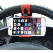 Universele mobiele telefoon auto houder voor aan het stuur o.a. voor uw iPhone 4 / 4S / 5 / 5S / 6 / 6S / 7 Plus , Samsung Galaxy A3 A5 A7 J1 J5 J7 2016 S5 S6 S7 Edge, HTC, Nokia, Huawei P8 P9 Lite Plus, LG, Sony etc.