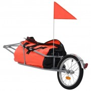 vidaXL Reboque de carga para bicicleta com saco laranja e preto