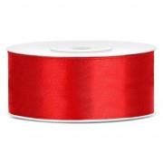Merkloos 1x Hobby/decoratie rood satijnen sierlint 2,5 cm/25 mm x 25 meter