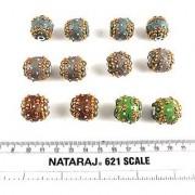 eshoppee handmade designer lakh / kashmiri beads set of 12 pcs for jewellery making and decoration