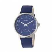 Simplify The 3400 Leather-Band Watch - Silver/Blue SIM3404