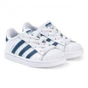 adidas Originals Superstar Sneakers Vit/Marinblå Barnskor 28 (UK 10.5)