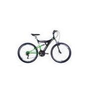 Bicicleta Aro 26 Tb 300 com Freios V-Brake, Dupla Suspensão, Preto/Verde - Track E Bikes