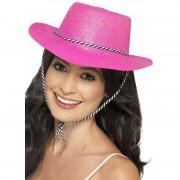Smiffys Knalroze glitter cowboy hoed
