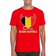 Bellatio Decorations Rood Belgie rode duivels hart shirt heren