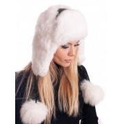Зимна ушанка от заек - бяла