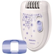Epilator Philips Satinelle HP6421/00, 20 discuri metalice, 2 Viteze, Alb/Mov