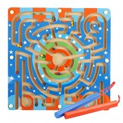 Toyvian Magnetic Wooden Bead Maze Puzzle Beads Board Game Toddlers Kid Educational Toys
