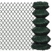 vidaXL Chain Link Fence Galvanised Steel 0.8x15 m Green