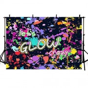 MEHOFOTO Neon Let's Glow Crazy Photo Studio Booth Background Glow Party Decorations Banner Backdrops for Photography 7x5ft