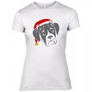 Boxer Dog with Santa Hat Women's T-Shirt - UK 14