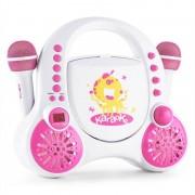Auna Rockpocket Equipo de karaoke infantil CD AUX 2x micrófono juego de pegatinas blanco (MG3-ROCKPOCKET-white)